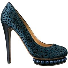 NICHOLAS KIRKWOOD Size 9 Navy Laser Cut Blue Pearl Out Platform Pumps
