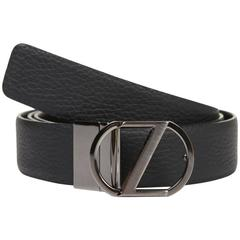 Z ZEGNA Mens Belt Pebbled Leather Black Reversible Logo Buckle Belt BCRGM5