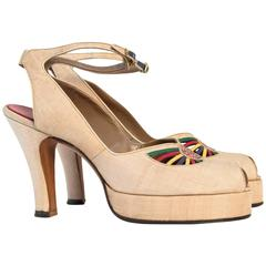 40s Platform Ankle Strap Heels with Colorful Leather & Studded Embellishments