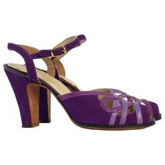 40s Purple Suede & Leather Peep Toe Ankle Strap Heels