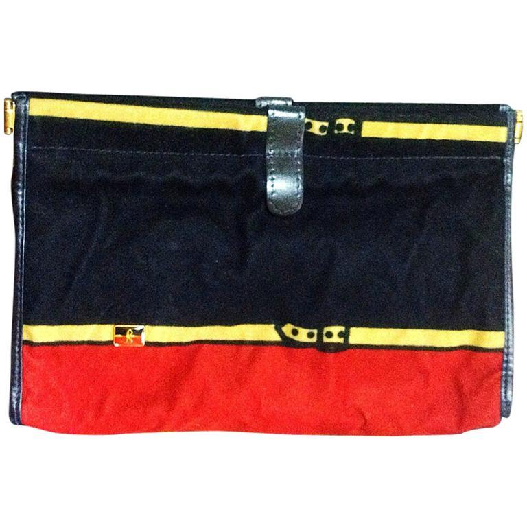 Vintage Roberta di Camerino, Ambassador, red, navy, and beige velvet clutch bag. 1