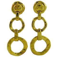 Yves Saint Laurent YSL Vintage Gold Tone Dangling Earrings