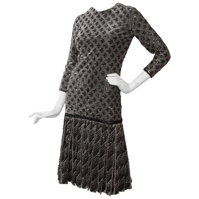 A 60s Dior Sequined Silver Lurex Cocktail Dress 1