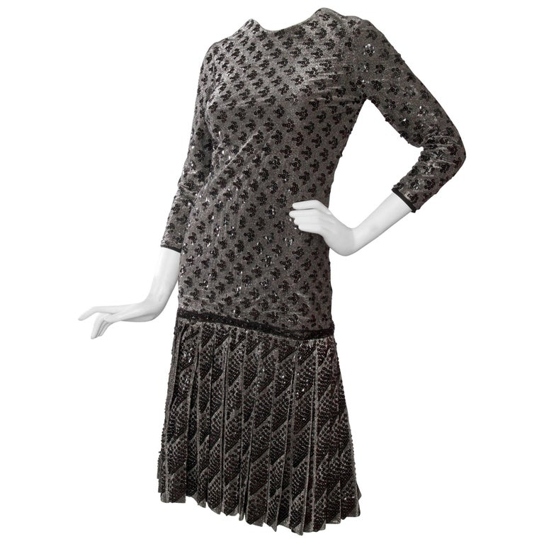 A 60s Dior Sequined Silver Lurex Cocktail Dress For Sale