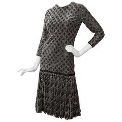 A 60s Dior Sequined Silver Lurex Cocktail Dress