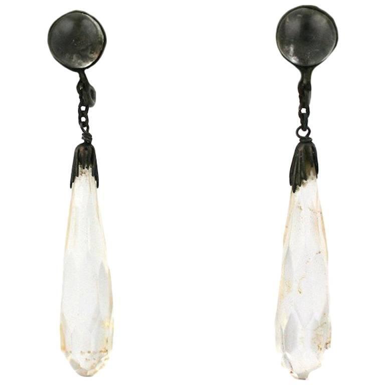 Art Deco Rock Crystal Faceted Drop Earrings For Sale