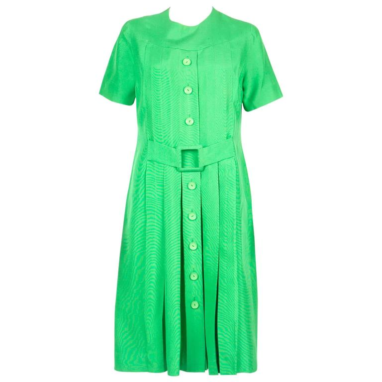 1960s Rare Molyneux Green Silk Dress