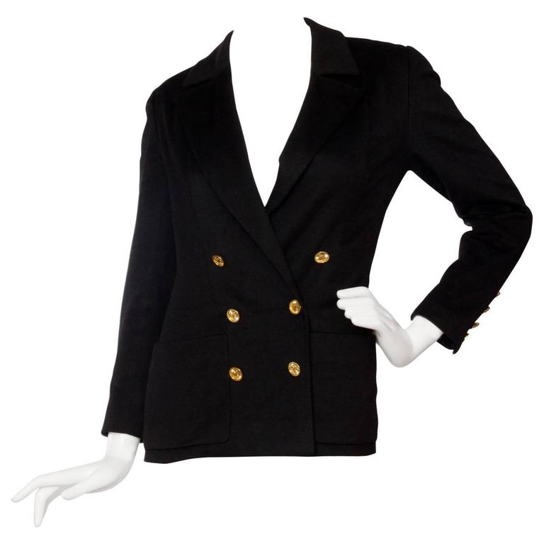 1990s Chanel Black Cashmere Blazer For Sale