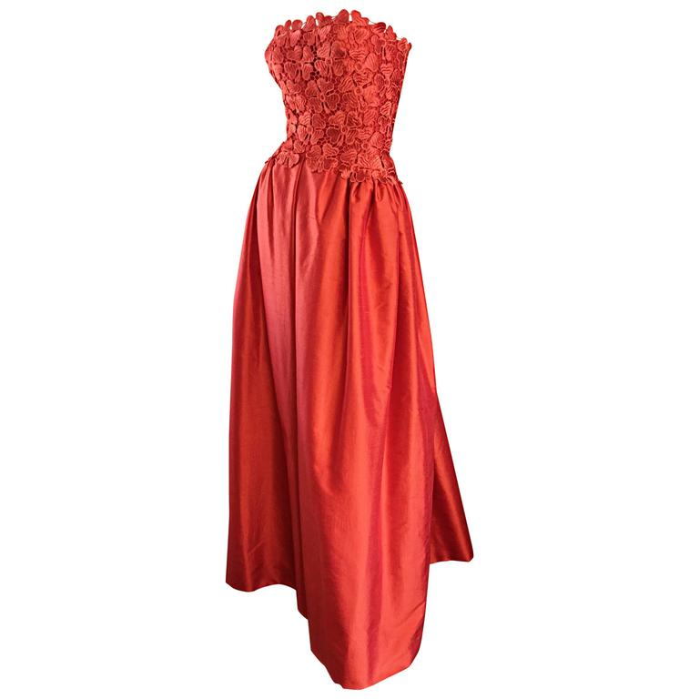 Werle of Beverly HIlls Couture Red Strapless Silk Shantung Crochet Gown, 1950s  1