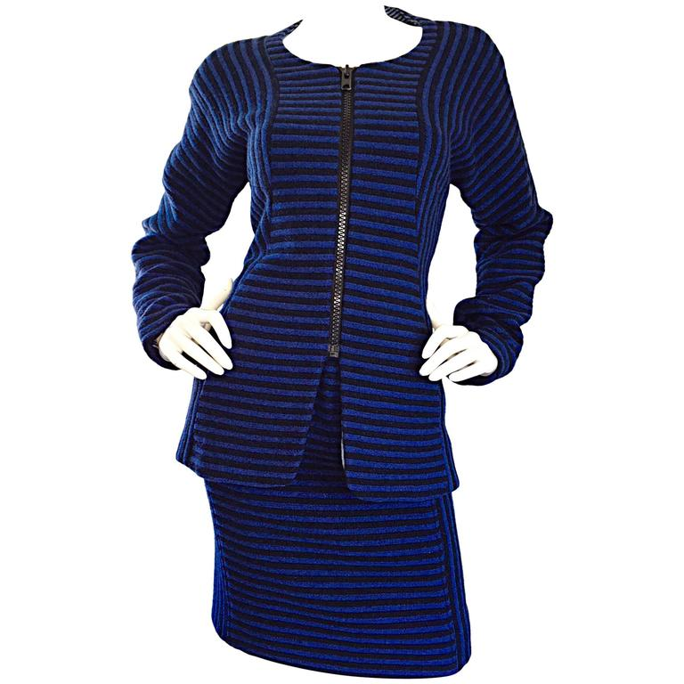 Vintage Geoffrey Beene Blue + Black Striped Avant Garde Wool Skirt Suit