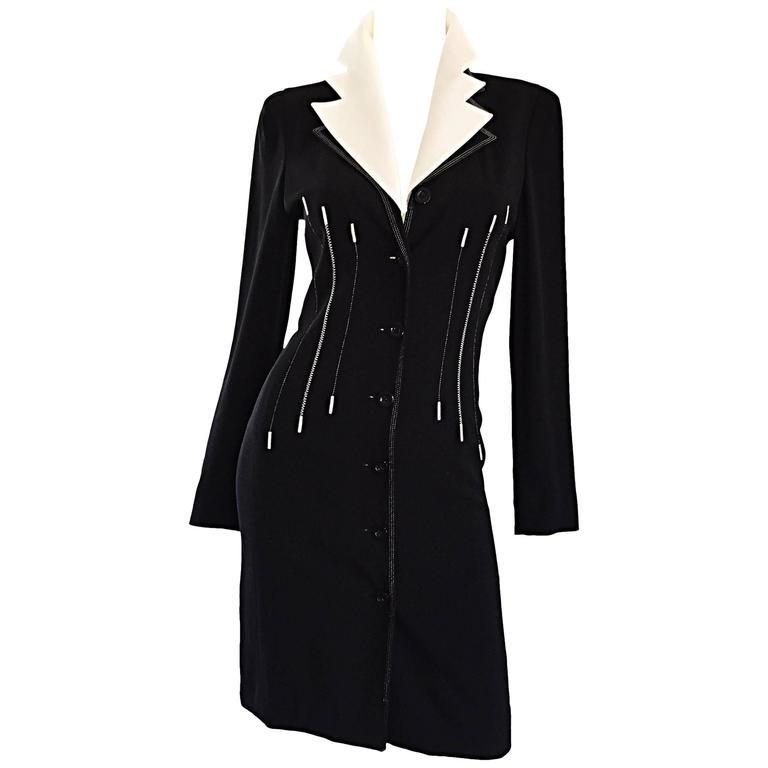 238ffc4b01 Vintage Escada Margaretha Ley Black and White ' Piano ' Dress Removable  Collar ...