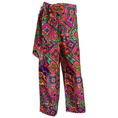 Amazing 1970s Alex Coleman Colorful Gegometric 70s Paisley Belted Wide Leg Pants