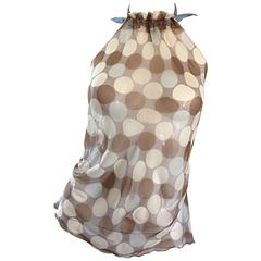 Vintage Alberta Ferretti Semi Sheer Polka Dot Sexy Silk Asymmetrical Halter Top
