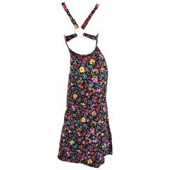 Superb 1970s Jack Hartley Sexy Cut Out Vintage Colorful Flower Print Maxi Dress