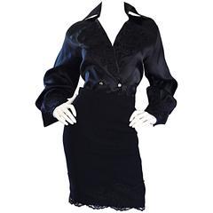 Beautiful Vintage Escada Couture Black Avant Garde Lace Dress Ensemble Top Skirt