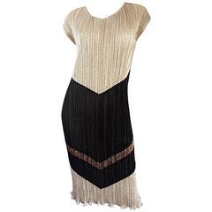 Amazing Vintage Samir 1970s does 1920s Gold, Silver, Bronze, Black Plisse Dress