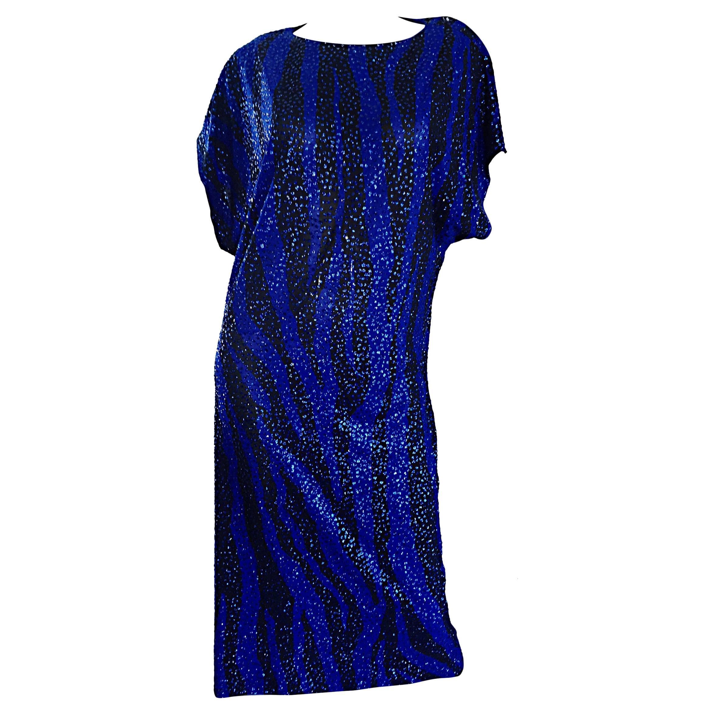 Vintage Neiman Marcus 70s Royal Blue Black Zebra Print ' Glitter ' Sequin Caftan