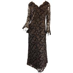 Rare 1920 Maison Krausz Haute Couture Forest Green Taupe + Black Lace Dress