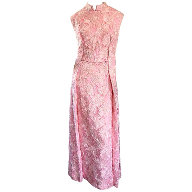 1960s Couture Raffia Silk Couture Light Pink Metallic Jackie - O Gown 60s Dress For Sale