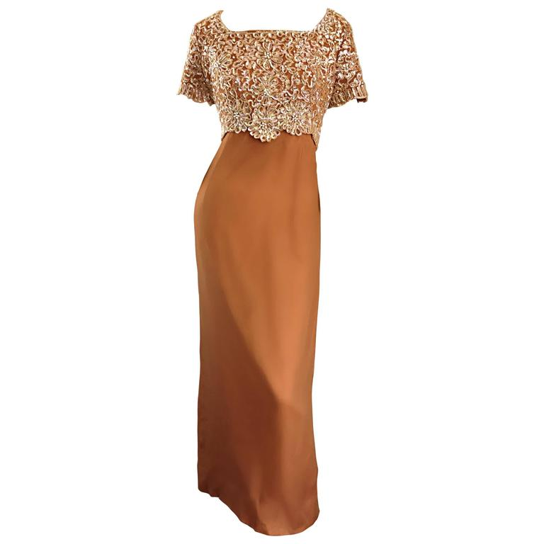Beautiful 1960s Emma Domb Terracotta Vintage Tan Chiffon 60s Sequin Beaded Gown For Sale