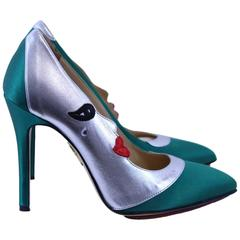 Charlotte Olympia Moon Shoes in Green Silk and Leather S.36