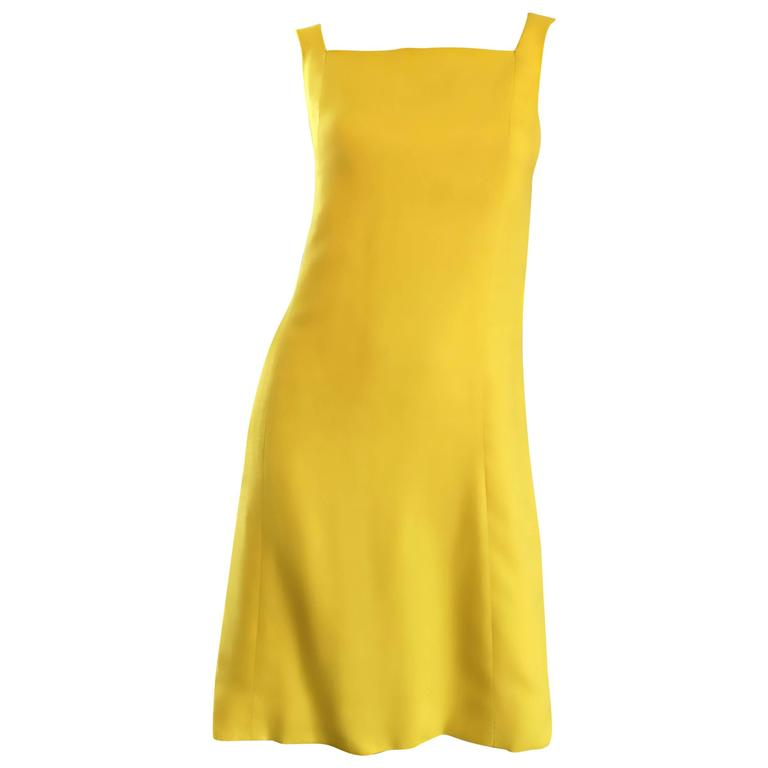1960s Paul Stanley New York Canary Yellow Vintage Linen 60s A - Line Shift Dress For Sale