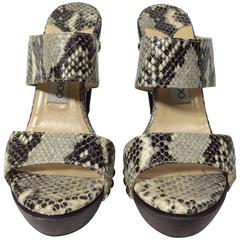 Jimmy Choo Grey and Brown Snakeskin Slides