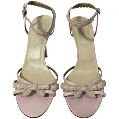 Valentino Pink and Tan Bow Ankle Strap Heels