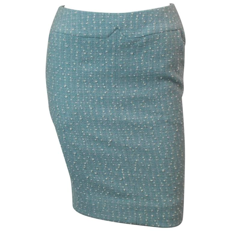 Chanel Light Blue Tweed Tapered Wool Blend Skirt - 38 - 1990's 1