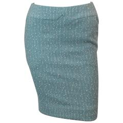 Chanel Light Blue Tweed Tapered Wool Blend Skirt - 38 - 1990's
