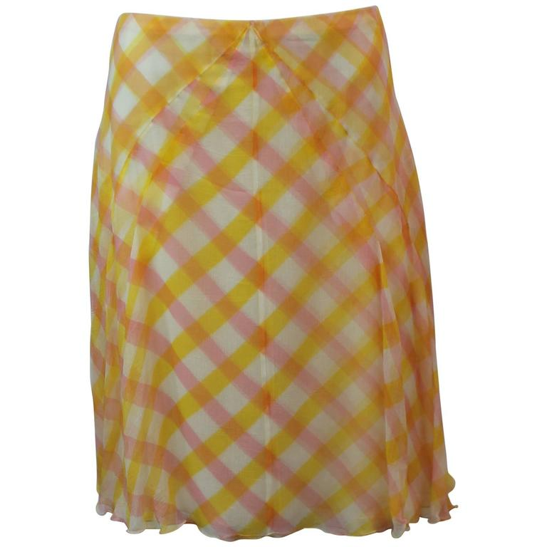 Chanel Yellow, Pink, and White Printed Silk Chiffon Flowing Skirt - 42 - 99C