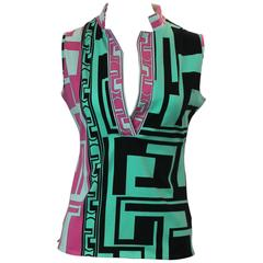 Emilio Pucci Multi-Colored Cotton-Elastin Sleeveless Collared Top - 6