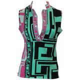 Emilio Pucci Multi-Colored Cotton-Elastin Sleeveless Collared Top - 6