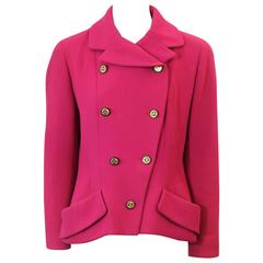 "Chanel Fuchsia Double Breasted Wool Jacket with ""CC"" Buttons - 38 - 1980's"