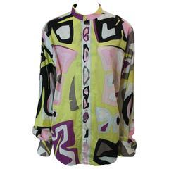 Emilio Pucci Multi-Color Cotton Printed Long Sleeve Shirt - L