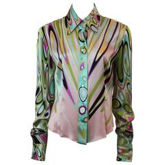 Emilio Pucci Multi-Colored Silk Shimmery Printed Long Sleeve Shirt - 12
