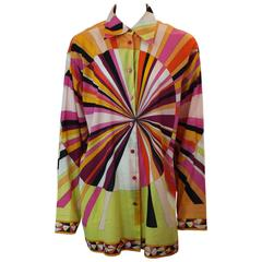 Emilio Pucci Pink & Orange Geometric Print Long Sleeve Shirt - M