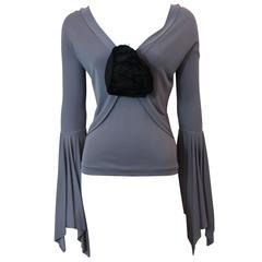 Yves Saint Laurent Rive Gauche Lavender Jersey Long Sleeve Blouse - M
