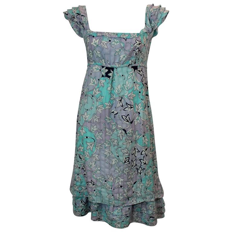 Emilio Pucci Floral Printed Pastel Blue and Lavender Cotton Dress - 4