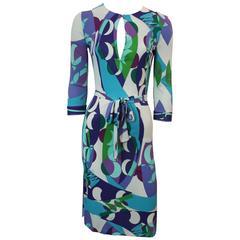 Emilio Pucci Blue & Green Geometric Print Jersey Dress - 6