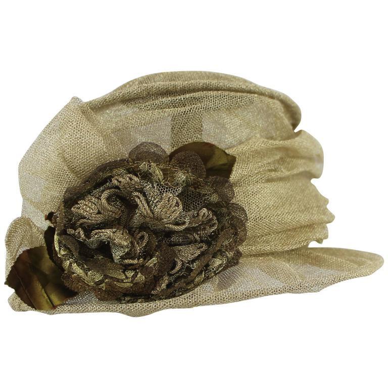 Suzanne Custom Millinery Gold Mesh Hat with Large Front Flower 1