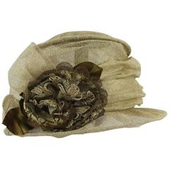 Suzanne Custom Millinery Gold Mesh Hat with Large Front Flower