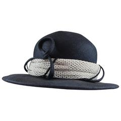 Suzanne Custom Millinery Navy and White Straw Hat with Ribbon