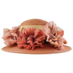 Suzanne Custom Millinery Salmon Round Brim Hat with Large Flowers and Ribbon
