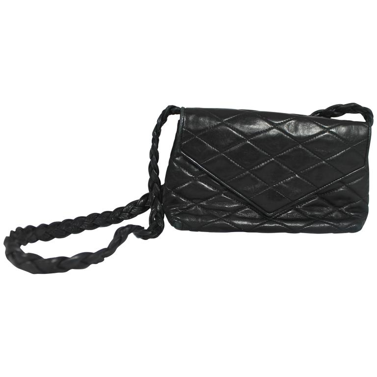 Chanel Vintage Black Quilted Lambskin Crossbody with Braided Strap - 1987 1