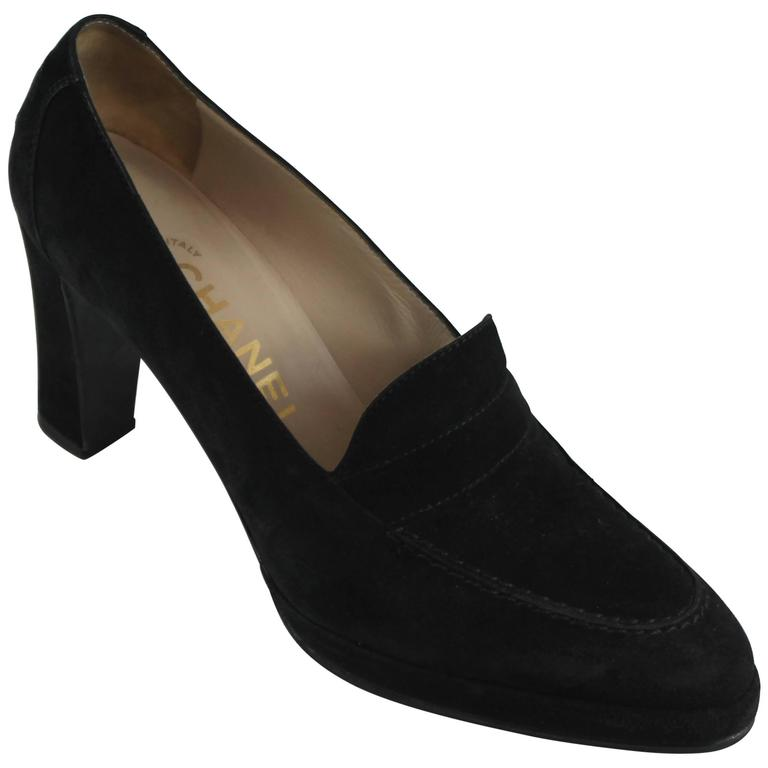 Chanel Black Suede Loafer Style Pumps - 36.5 For Sale