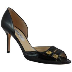 Jimmy Choo Black Leather D'Orsay Heels with Double Straps and Gold Studs - 36.5