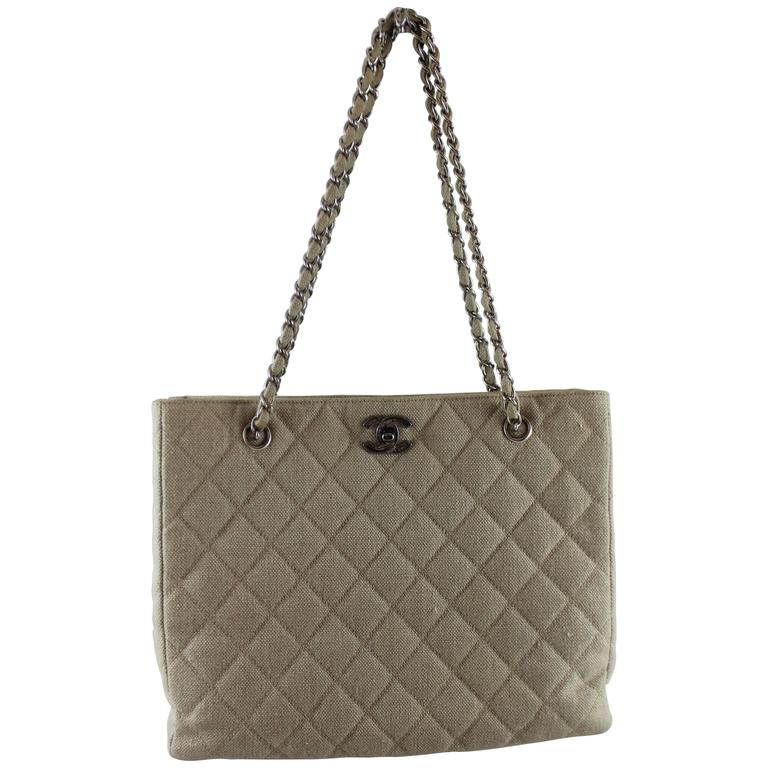 Chanel Beige Raffia Quilted Tote w/ Turnkey Lock & chain strap-SHW-circa 97 For Sale