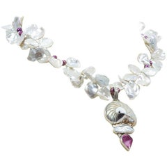 Lustrous Keshi Pearls Shell Drop Runway Necklace