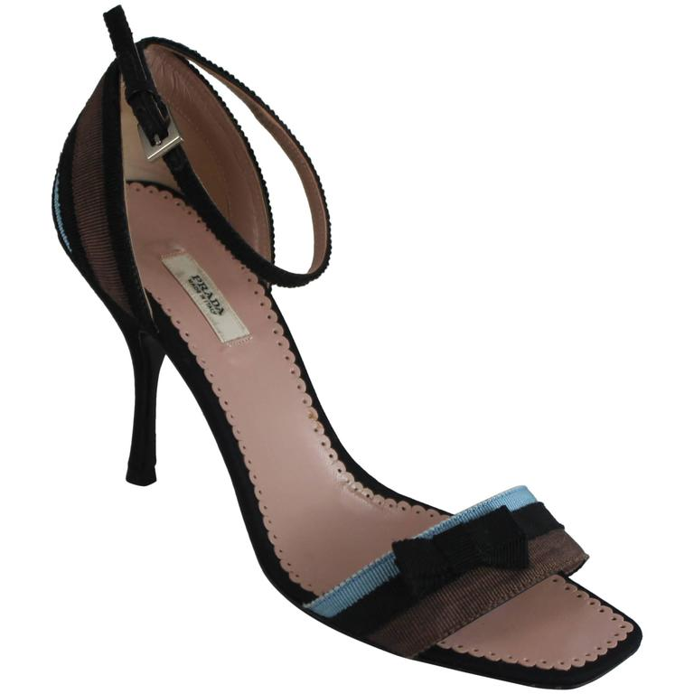 Prada Blue, Black, and Brown Grosgrain Striped Ankle Strap Heels with Bow - 36 For Sale